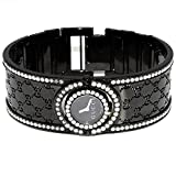 Gucci Watch Ladies 3.5ctw Diamonds Custom G Bezel Black Stainless Steel Ya112431