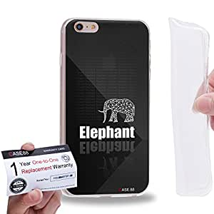 "Case88 [Apple iPhone 6 / 6s Plus (5.5"")] Gel TPU Carcasa/Funda & Tarjeta de garantía - Art Hand Drawing Black Hipster Elephant"
