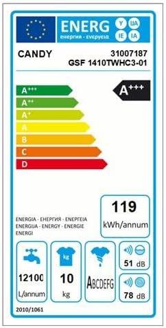Candy Lavadora gsf1410twhc3 – 01 Mix Power System 10 kg clase A + ...