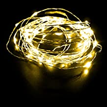 DODOLIGHTNESS 16.4FT Silver Copper Wire LED Starry Lights with 12V 1A Power Adapter Perfect for Christmas decoration New Year Party Decoreation Light(Yellow)