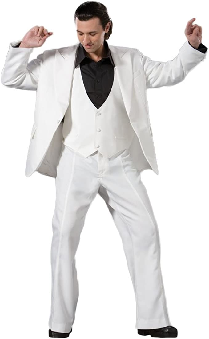 Saturday Night Fever White Suit Mens 1970/'s John Travolta Disco Fancy Dress M XL