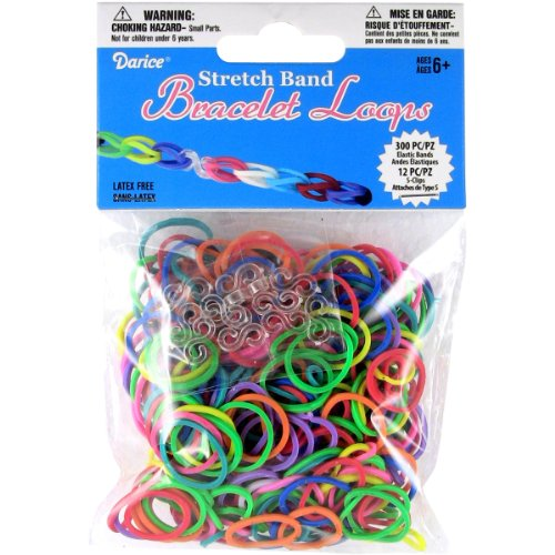 Darice Rubber Bands with 12 Clips, Mini, Multicolor,