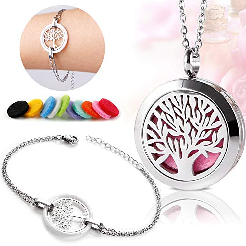 Diffuser Necklace Essential Oil Necklace Aromatherapy Necklace Set with Delicate White Ceramic Bracelet Tree of Life (Set Ceramic Necklace)