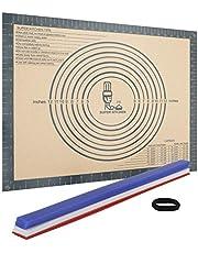 Bakmatta silikon bakmatta 60 x 40 cm rullmatta degmatta silikonmatta degunderlägg med degpinnar av silikon, mät degremsor för kavel derullare, fondant och deg rulla ut jämnt