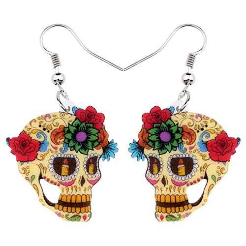 (NEWEI Acrylic Halloween Floral Skull Earrings Drop Dangle Big Long Fashion Jewelry for Women Girls Gift Charms (Multicolor))