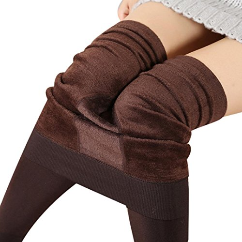 Price comparison product image Ankola Women Fall Winter Warm Fleece Lined Thermal Stretchy Leggings Full-Length Thick Pants (One Size,  Coffee)