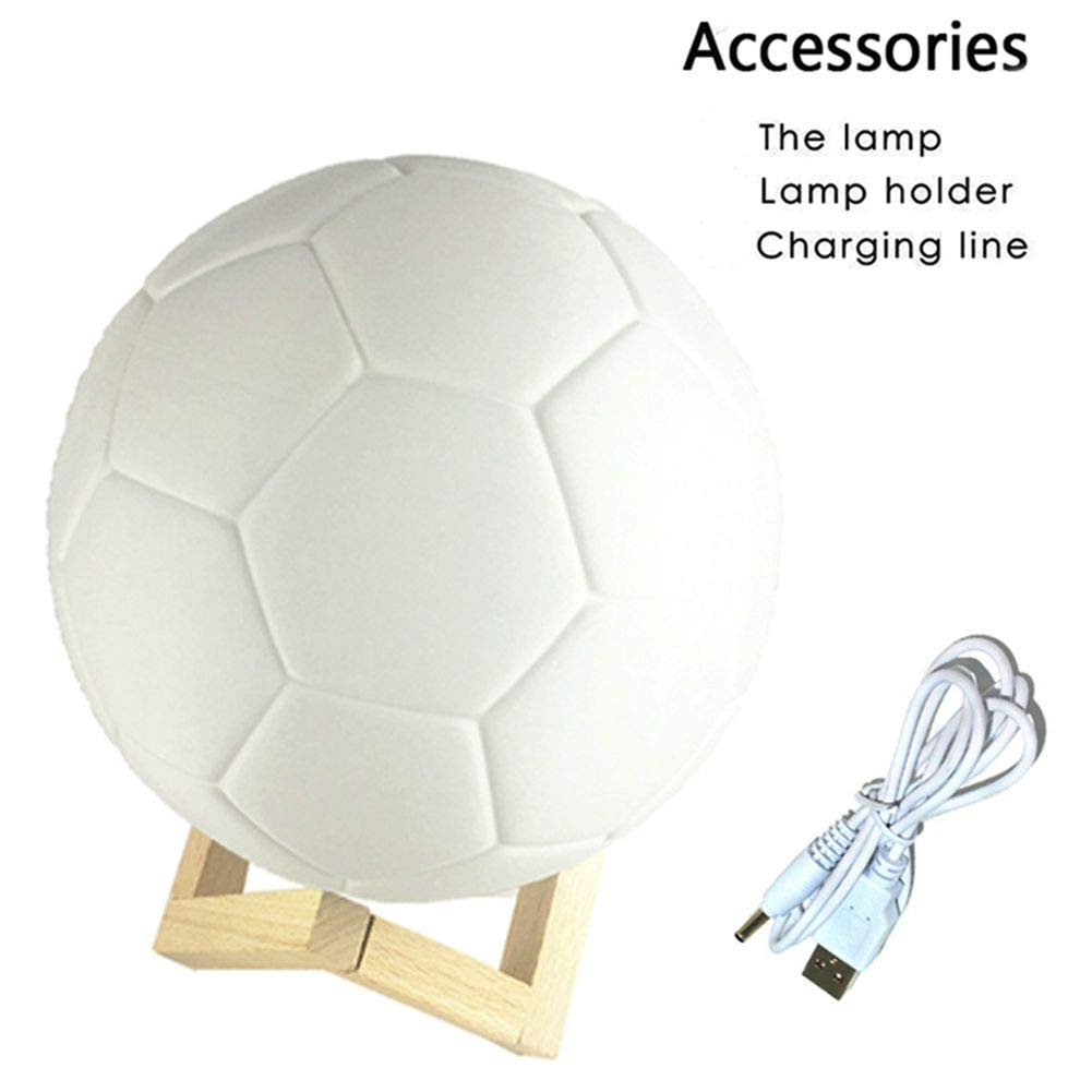 Lámpara de mesa con impresión 3D en forma de balón de fútbol, LED ...