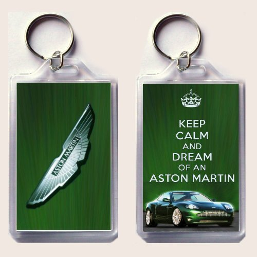 (KEEP CALM and DREAM of an ASTON MARTIN Keyring printed on an image of an Aston Martin DB9 on one side and the iconic Aston Martin badge on the other, from our Keep Calm and Carry On series - an original