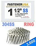 """1 1/2"""" Ring 304 Stainless Coil Roofing Nails 3.6M"""