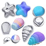 MelonBoat Set of 5 Beach Theme Set Aluminum Metal Bath Bomb Molds Fizzies, Bath Salts, Cupcake Baking Mold, Soap Molds Shapes Kit, Kids DIY Homemade Art Supplies