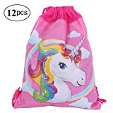 12 Pack Unicorn Party Bags Drawstring Gift Bags for Kids Girls Birthday Party Favors and Gifts,10.6 * 13.4 inches