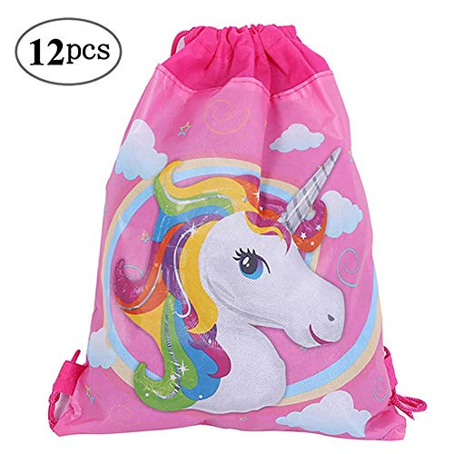12 Pack Unicorn Party Bags Drawstring Gift Bags for Kids Girls Birthday Party Favors and Gifts,10.6 * 13.4 inches -