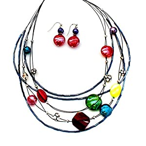 Multicolored Glass Bead Necklace and Earring Set, with Bugle, Seed, and Shamballa Beads