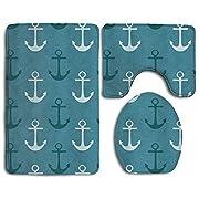 IIORUNJF Nautical Pattern Navy Blue And Teal Shower Bathroom Rug Set Includes Contour Rug Lid Toilet Cover Bath Mat