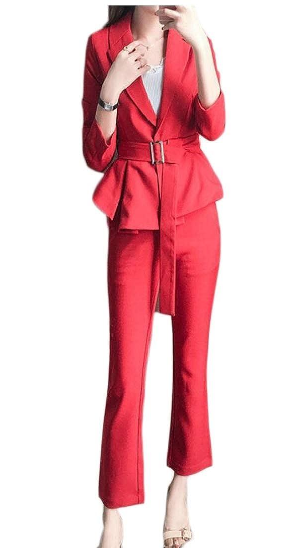 1 LEISHOP Women's 2 Piece Suits Set Business Office Lady Blazer Jacket Pants Set