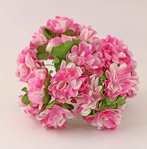 nanguawu 18pcs Pink Carnation Dollhouse Miniature Scene Accessories Mini Bouquet Model (Bouquet Carnation Miniature)