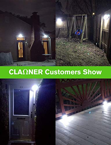 CLAONER 70 LED 4 Packs Solar Lights Outdoor, Wireless Solar Motion Sensor Lights IP65 Waterproof Security Solar Wall Lights, with 3 Modes for Front Door, Garden, Yard, Garage-1200 Lumens
