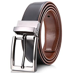 "Marino Reversible Leather Belt For Men - Classic Dress Belt 1.25"" Wide - With Removable Rotated Buckle (Burnt Umber/Black, 34)"