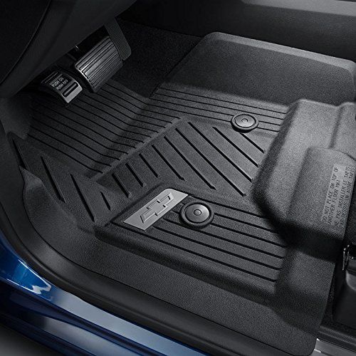 GM Accessories 84185470 Front Floor Liners in Jet Black with Bowtie Logo (with Center Console)