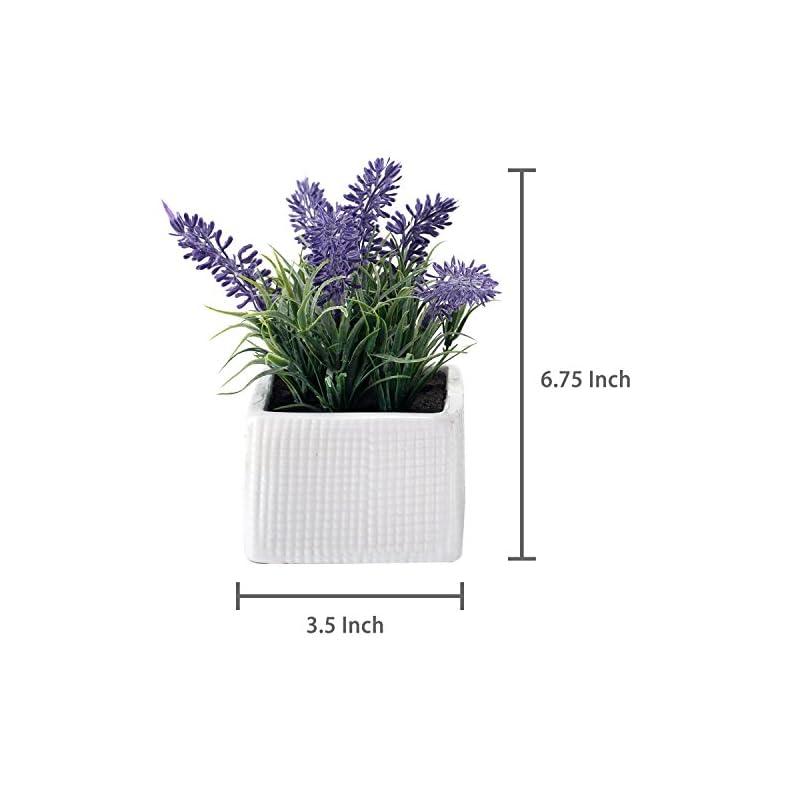 silk flower arrangements mygift set of 3 assorted color artificial lavender flower plants in white textured ceramic pots