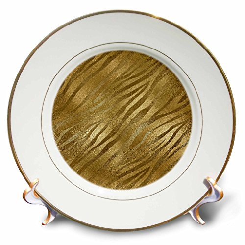 3dRose Anne Marie Baugh - Shades Of Gold - Pretty Gold On Gold Faux Foil Zebra Print Pattern - 8 inch Porcelain Plate (cp_254813_1)
