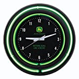 John Deere Double Neon 15'' Wall Clock, Black Face
