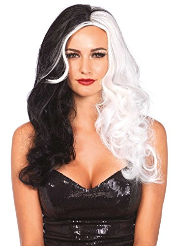 Leg Avenue Women's Two Tone Wig, Black/White, One Size