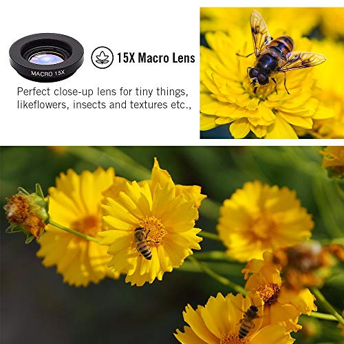 Phone Camera Lens 5 in 1 Kit, 2XTelephoto Zoom Lens+198°Fisheye Lens+0.63XWide Angle Lens &15XMacro Lens+CPL for iPhone Xs/R/X/8/7/6s Smartphone,Android,Samsung. iPhone lens. Phone Gadget.Photography.