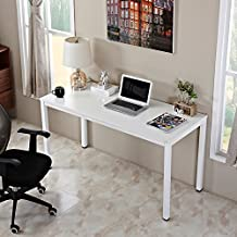 AUXLEY Computer Desk 55 Inch Modern Simple Office Writing Desk for Home Office, Double Deck Wood and Metal Office Table White