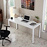 AUXLEY Computer Desk for Home Study, Waterproof and Anti-Scratch Double Deck Wood and Metal Office Table, 55'', White
