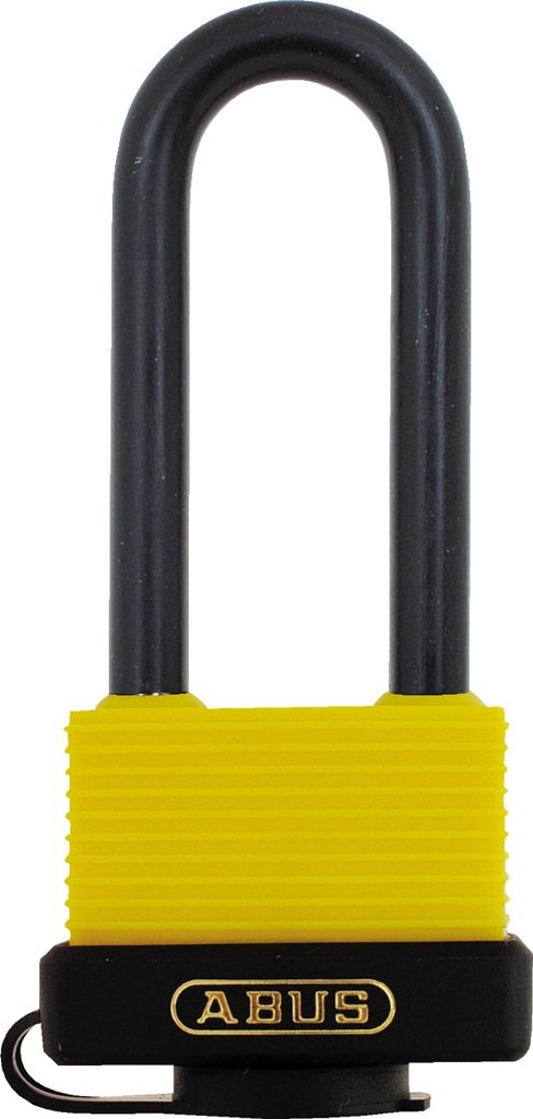 ABUS 70/45 All Weather Solid Brass Yellow Padlock Keyed Different - Long Steel Shackle (2-1/2'')