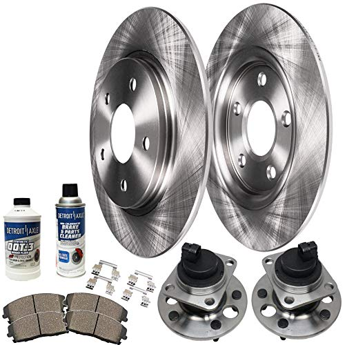 Detroit Axle - REAR Wheel Bearing Hubs Assemblies and Disc Brake Rotors w/Ceramic Pads w/Hardware & Braker Cleaner Bottle for 1999 2000 2001 2002 2003 2004 Olds Alero - [99-05 Pontiac Grand AM] ()