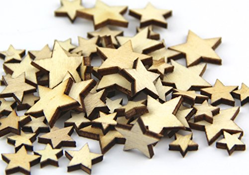 Pack of Mixed Size Natural Wood Color Little Star Shaped Wooden Crafting Sewing Scarpbooking DIY Buttons Over 240pcs