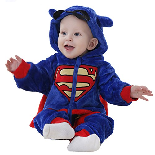 OSEPE Unisex-baby Flannel Romper Animal Onesie Pajamas Outfits Suit Superman Size80 (Superman Adult Onesie)