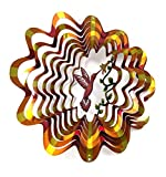 WorldaWhirl Whirligig 3D Wind Spinner Hand Painted Stainless Steel Twister Hummingbird (6.5'' Inch, Multi Color Copper)