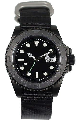 PARNIS 3001 GMT 41 mm de Hombre Automático Reloj Marca Reloj MZ de Red 3814 Cristal de Zafiro Caja de Acero Inoxidable Correa de cerámica Bisel 5 Bar ...