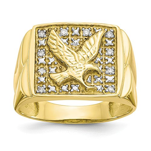 FB Jewels 10K Yellow Gold & Rhodium .10ct Diamond Mens Eagle Ring Size 12