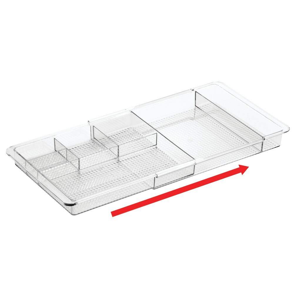 etc /Útil bandeja de oficina para mesa de despacho o caj/ón clips mDesign Organizador de escritorio extensible Ampliable hasta 47 cm de ancho Con divisiones para marcadores post-it