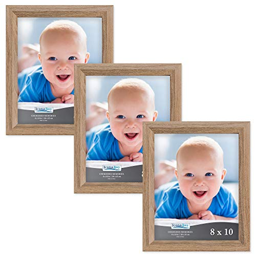Wall Oak Mount Frame - Icona Bay 8x10 Picture Frame (3 Pack, Dark Oak Wood Finish), Photo Frame 8 x 10, Composite Wood Frame for Walls or Tables, Set of 3 Cherished Memories Collection