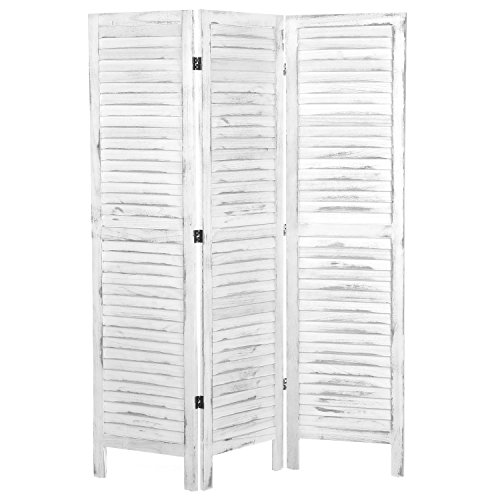 Room Wood Panel Divider - MyGift Whitewashed Wood 3 Panel Screen, Folding Louvered Room Divider