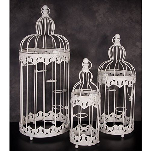 Black Country Metal Works Small Cream Bird Cage Tealight Candle Holder