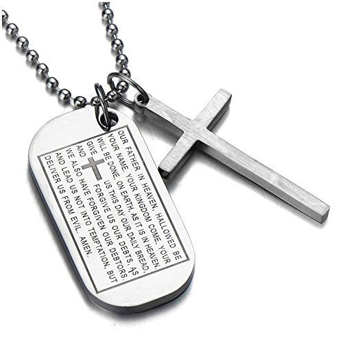 COOLSTEELANDBEYOND Two-Pieces Mens Bible Cross Dog Tag Pendant Necklace Stainless Steel Silver Color