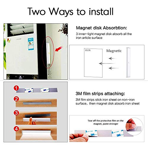 Under Cabinet Lights,18 LED Motion Sensor Lights, Night Light,Led Battery  Lights,Motion Led Light Bar, USB Rechargeable Magnet LED Lights Stick on