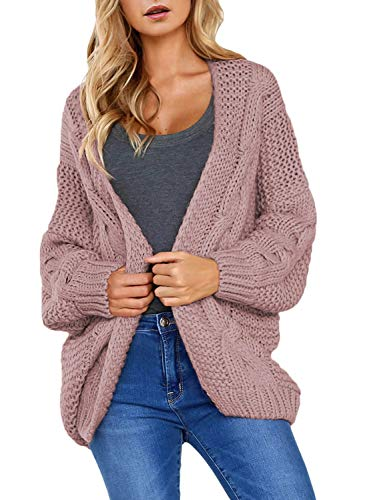 Astylish Womens Cardigans Ladies Autumn Warm Cozy Open Front Long Sleeve Chunky Cable Knit Ribbed Cardigan Sweater Plus Size X-Large 16 18 Pink