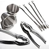 The Wolf Moon® Seafood Tool Kit, 8 Piece Includes 2 x Lobster Crackers + 4 x Stainless Steel Seafood Forks + 2 x Stainless Steel Individual Condiment Sauce Cups