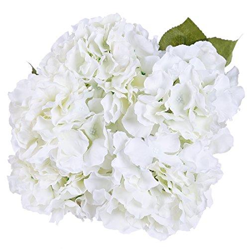Luyue 5 Big Heads Artificial Silk Hydrangea Bouquet Fake Flowers Arrangement Home Wedding decor (Cream) (Hydrangea Artificial Arrangement)
