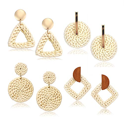 - BSJELL Rattan Earrings Handmade Straw Woven Braid Round Drop Earrings Lightweight Bohemian Wicker Hoop Earrings for Women (4 Pairs)