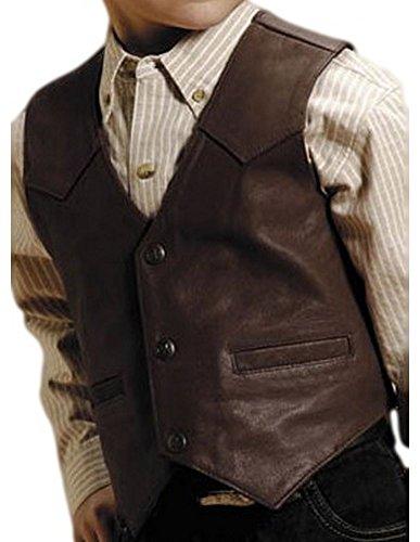 Roper Boys' Western Nappa Leather Vest Brown - Leather Childs Vest