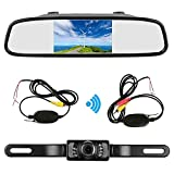 "Podofo 4.3"" Car TFT LCD Mirror Monitor Wireless Reverse Car Rear View Backup Camera Kit (Black)"