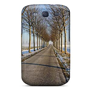 Top Quality Case Cover For Galaxy S3 Case With Nice Winter Tree Lined Road Appearance